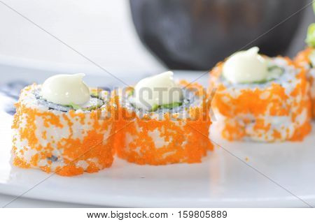 rice roll California Maki dish , maki in Japanese food