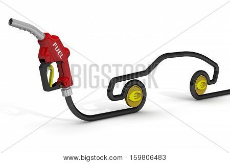 The cost of automotive fuel. Car fuel nozzle the hose in the shape of the car symbol and coins of the European currency on a white surface. Isolated. 3D Illustration