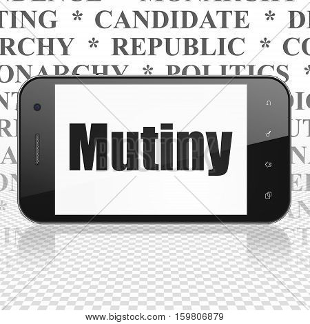 Politics concept: Smartphone with  black text Mutiny on display,  Tag Cloud background, 3D rendering
