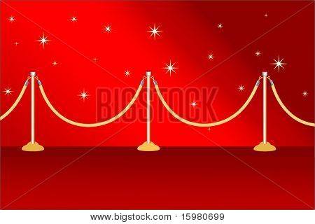 red carpet with posts and stars