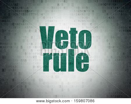 Political concept: Painted green word Veto Rule on Digital Data Paper background