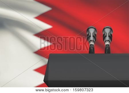 Pulpit And Two Microphones With A National Flag On Background - Bahrain