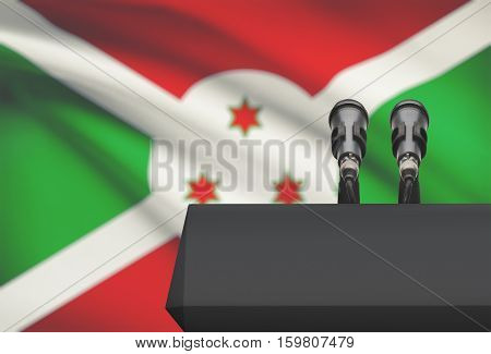 Pulpit And Two Microphones With A National Flag On Background - Burundi