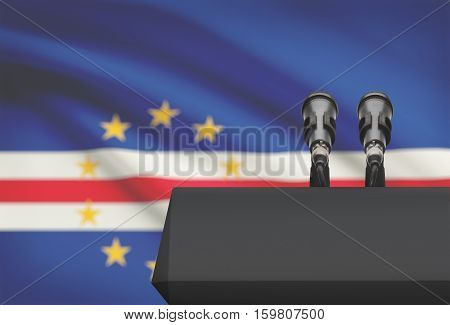 Pulpit And Two Microphones With A National Flag On Background - Cabo Verde - Cape Verde