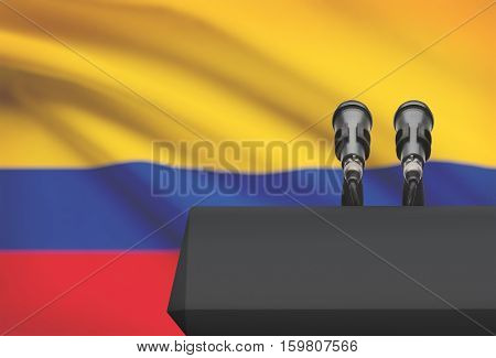 Pulpit And Two Microphones With A National Flag On Background - Colombia