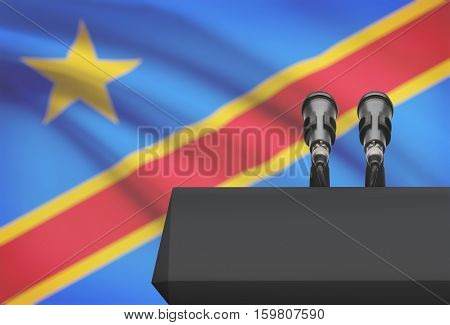 Pulpit And Two Microphones With A National Flag On Background - Congo-kinshasa