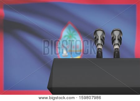 Pulpit And Two Microphones With A National Flag On Background - Guam