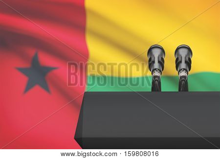 Pulpit And Two Microphones With A National Flag On Background - Guinea-bissau