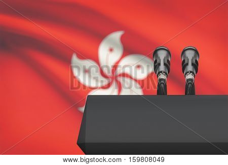 Pulpit And Two Microphones With A National Flag On Background - Hong Kong
