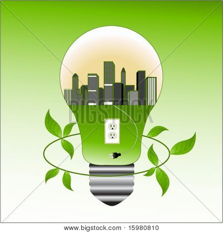 Environment concept - city in lightbulb with socket and plug  leaves around