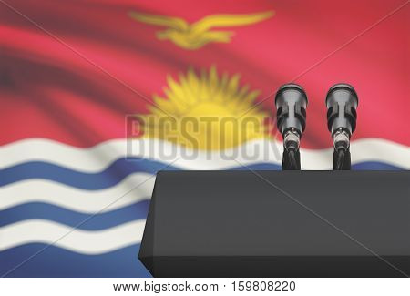 Pulpit And Two Microphones With A National Flag On Background - Kiribati