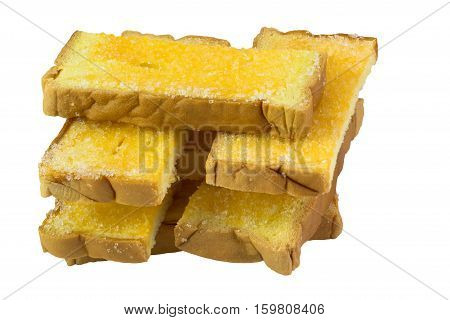Crispy sliced bread with butter and sugar isolated on white background and clipping path