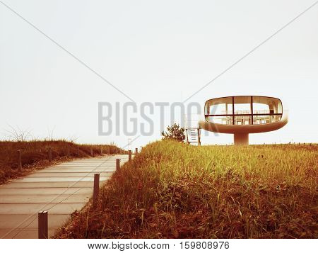 Tourist Atractiion, Caffe Room At Sea Shore With Round View. Wooden Board