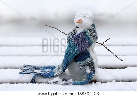 Christmas snowman in a warm scarf on the background of snowy landscape / good mood during the winter holidays