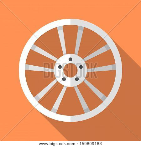Colorful car disk wheel rim icon in modern flat style with long shadow. Car parts and service vector illustration