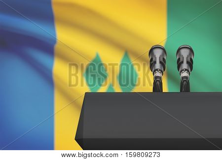 Pulpit And Two Microphones With A National Flag On Background - Saint Vincent And The Grenadines