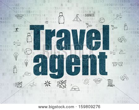 Vacation concept: Painted blue text Travel Agent on Digital Data Paper background with  Hand Drawn Vacation Icons