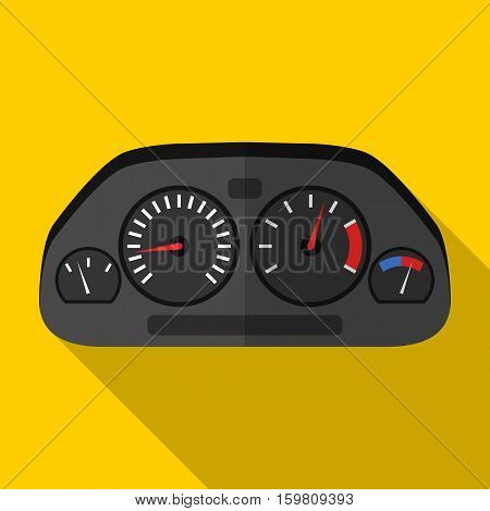 Colorful car dashboard icon in modern flat style with long shadow. Car parts and service vector illustration
