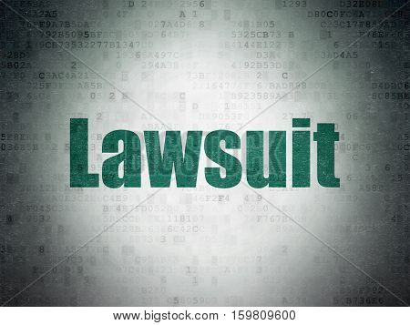 Law concept: Painted green word Lawsuit on Digital Data Paper background