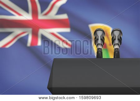 Pulpit And Two Microphones With A National Flag On Background - Turks And Caicos Islands