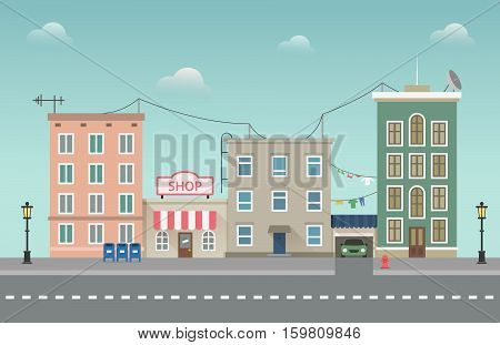 Day city urban landscape. Small town vector illustration in flat style