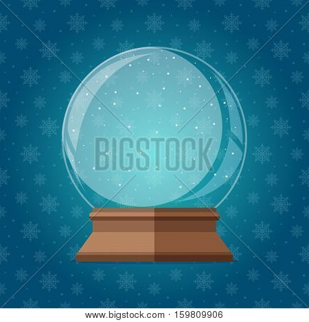Empty magic snow globe vector illustration. Christmas snowglobe gift on snowflakes seamless pattern.