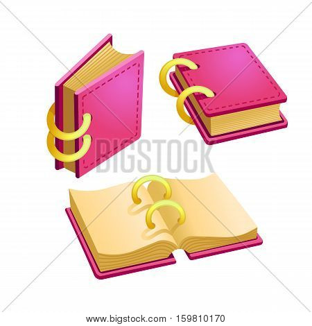Set of cartoon pink book from different angles.Isolated vector elements for game design.