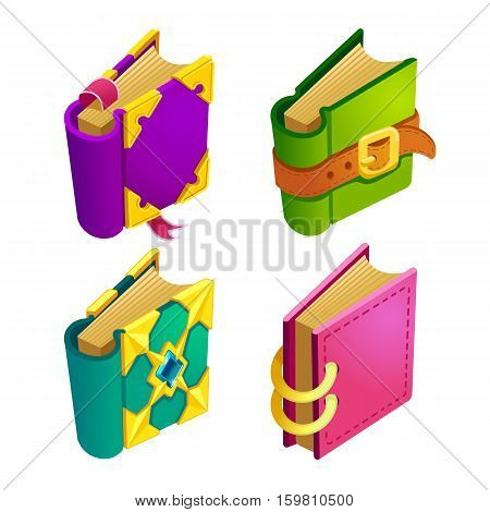 Set of cartoon different color book.Isolated vector elements for game design.Isometry