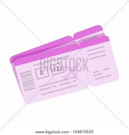 Cartoon boarding pass vector illustration. Tickets for travel by airplane icon in flat style isolated on white background