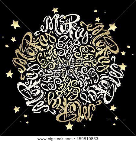 Merry Christmas Mandala Style Calligraphic Lettering Circular Inscription