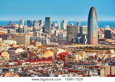 Scenic Aerial View Of The Agbar Tower In Barcelona
