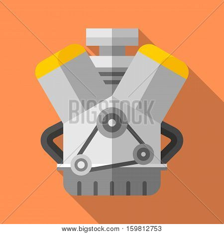Colorful v twin engine icon in modern flat style with long shadow. Car parts and service vector illustration