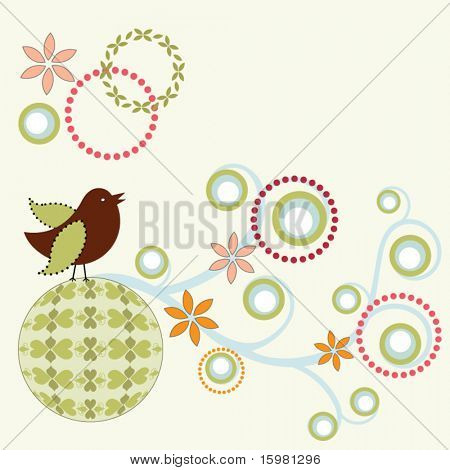 whimsical bird on funky circle and vine