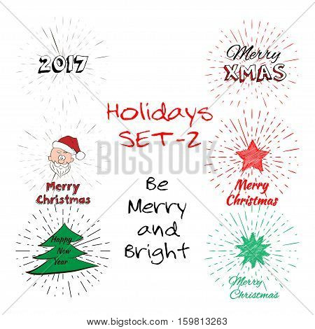 Holidays Set of free typography lettering, Santa Claus Head, Christmas Tree, 2017, Star, Happy New Year, Santa Hat with vintage sun burst frame. Holiday concept vector card, wish and vintage label.