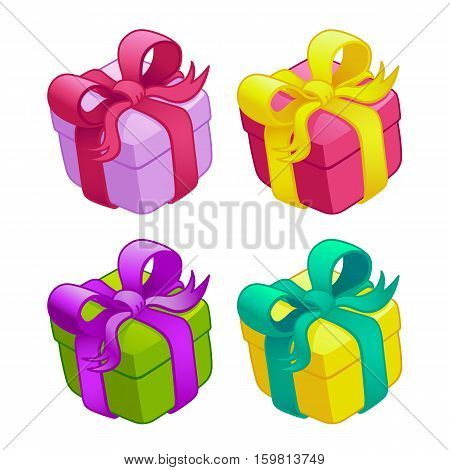 Set of colorful gift boxes with bows and ribbons, vector illustration.Funny cartoon colorful gift boxes.Isolated on a white background.Game icon.Design for app user interface and score display.