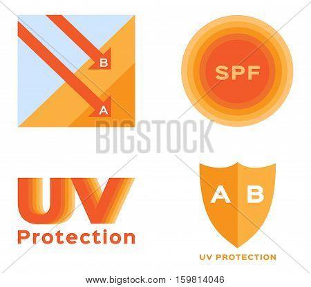 uv protection logo and icon vector . orange uv color