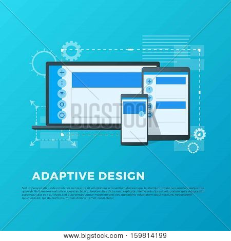 Vector concept of adaptive design for different devices such as laptop, smartpad and phone in material style