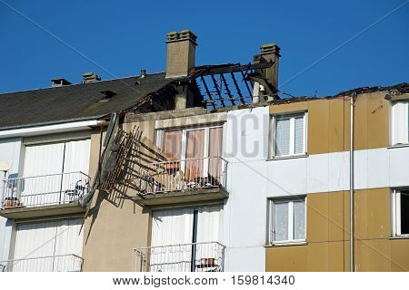A burnt building roof, in Chartres, France