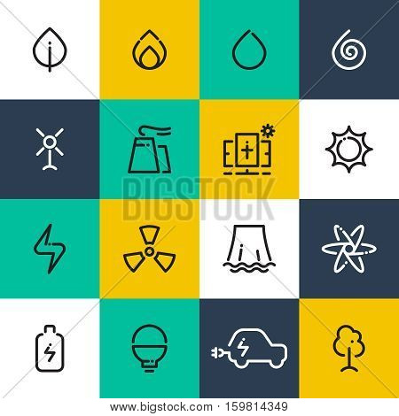 Vector set of alternative energy line icons. Wind, solar, water and bio renewable energy. Green electricity line logo concept. Natural elements