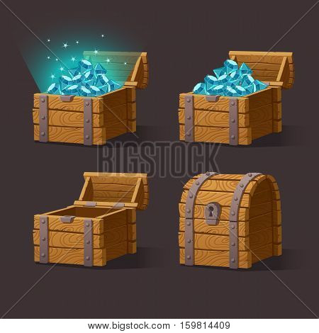 Wooden Chest set for game interface.Vector illustration.Treasure chest of blue crystals, gemstones, diamonds on dark background closed, empty, chest with gems. Gui elements for mobile games