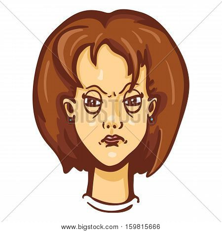 Vector Cartoon Female Character Emotion. Angry Woman