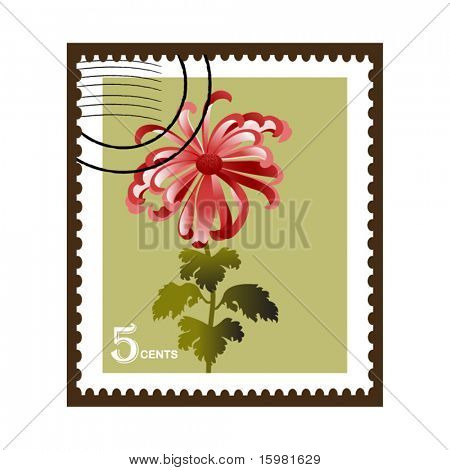Chrysanthemum flower stamp (three of three) layered