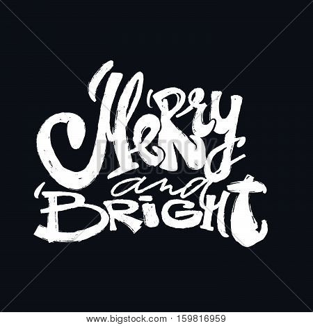 Merrry And Bright Hand Lettering Christmas Motivation Poster.