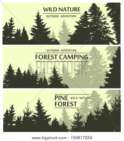 Fir trees silhouette banners. Pine plant wood branch natural forest silhouette. Trunk environment deciduous pine trees silhouette vector. Forest logo growth seasonal. Vintage forest design template.