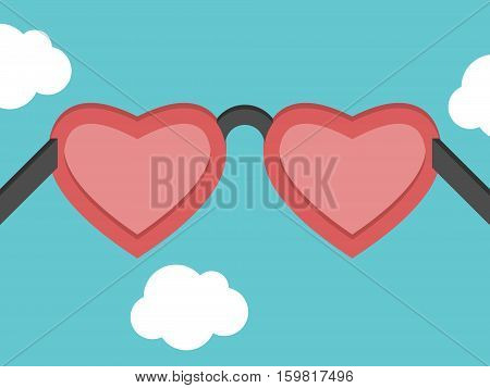 Heart shaped pink glasses on blue sky background with clouds. Romance love and happiness concept. Flat design. EPS 8 vector illustration no transparency