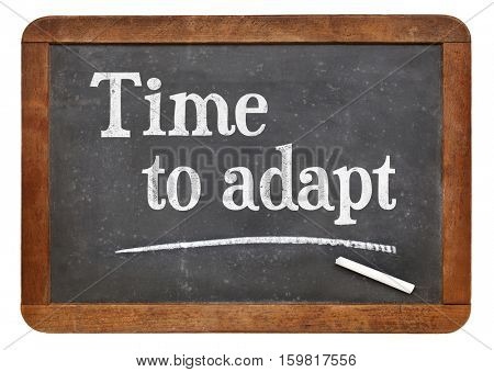 Time to adapt - white chalk text on a vintage slate blackboard