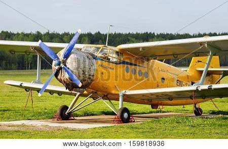 MINSK BELARUS - MAY 07 2016: The Antonov An-2 is a Soviet mass-produced single-engine biplane utility agricultural aircraft designed and manufactured by the Antonov Design Bureau beginning in 1946.
