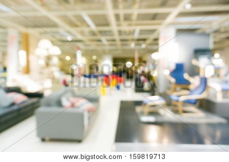 Home furniture living mall store blurred background