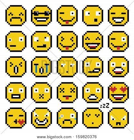 SET OF EMOTIONS SET OF EMOJI SMILE ICONS SMILE PIXEL SMILE RETRO SECOND SET YELLOW