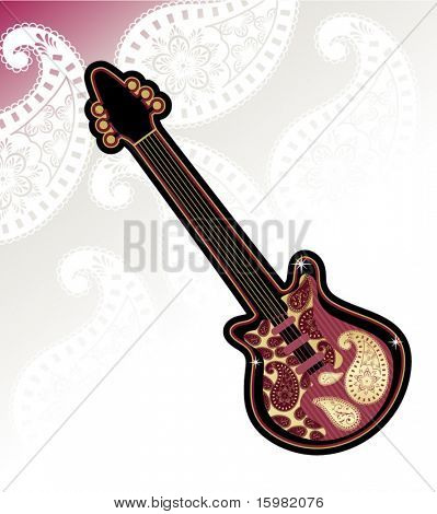 Guitar with paisley pattern (2 types) and background